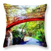 Minnewaska Wooden Bridge Throw Pillow