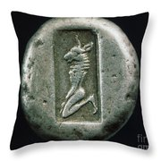 Minotaur On A Greek Coin Throw Pillow
