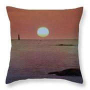 Minots Ledge Light At Sunrise Throw Pillow