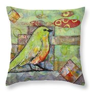 Mint Green Bird Art Throw Pillow by Blenda Studio
