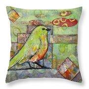Mint Green Bird Art Throw Pillow