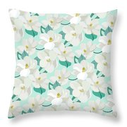 Mint Magnolias Throw Pillow by Elizabeth Tuck