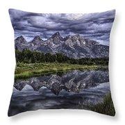 Mirrored Mountains Throw Pillow