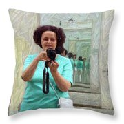 Mirrored Self-portrait Throw Pillow