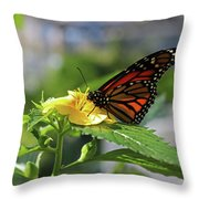 Mirthful Monarch Throw Pillow