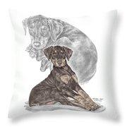 Mischief ... Moi? - Doberman Pinscher Puppy - Color Tinted Throw Pillow by Kelli Swan