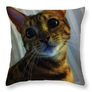 Mischievous Bengal Cat Throw Pillow