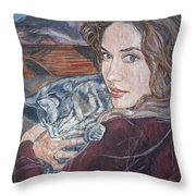 Misha The Cat Woman Throw Pillow