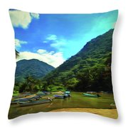 Mismaloya River Fishing Boats 0344 Throw Pillow
