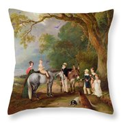 Miss Catherine Herrick With Her Nieces And Nephews Throw Pillow by John E Ferneley