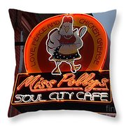 Miss Polly's Soul City Cafe Throw Pillow