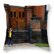 Missed Bus Throw Pillow