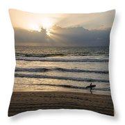 Mission Beach Surfer Throw Pillow