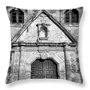 Mission Concepcion Entrance - Bw Throw Pillow