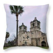 Mission Concepcion With Well And Tree Throw Pillow
