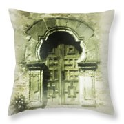 Mission Espada Chapel Door Throw Pillow
