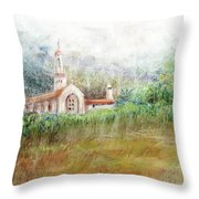 Mission In The Fog Throw Pillow