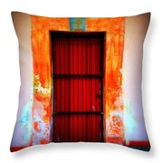 Mission Red Door Throw Pillow