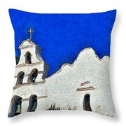 Mission San Diego De Alcala Throw Pillow by Christine Till