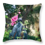 Mission Statue And Flower Throw Pillow