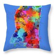 Mississippi Map Color Splatter 3 Throw Pillow