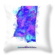 Mississippi Map Watercolor 2 Throw Pillow
