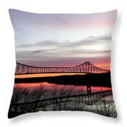 Mississippi River At Savanna Throw Pillow
