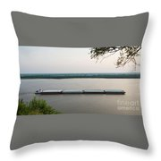 Mississippi River Barge Throw Pillow