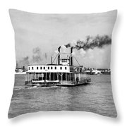 Mississippi River Ferry Boat Throw Pillow