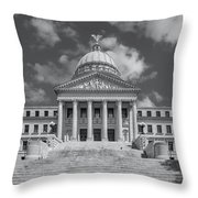 Mississippi State Capitol Bw Throw Pillow