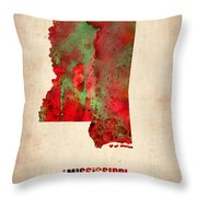 Mississippi Watercolor Map Throw Pillow