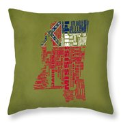 Mississippitypographic Map Throw Pillow