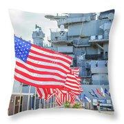 Missouri Battleship Memorial Flags Throw Pillow