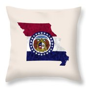 Missouri Map Art With Flag Design Throw Pillow