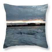 Missouri River Ice Sheet Sunset Throw Pillow
