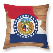 Missouri Rustic Map On Wood Throw Pillow