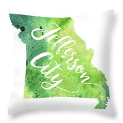 Missouri Watercolor Map - Jefferson City Hand Lettering  Throw Pillow