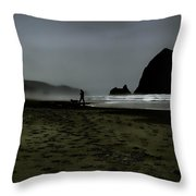 Mist At Cannon Beach Throw Pillow