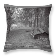 Mist Field And Barn Throw Pillow