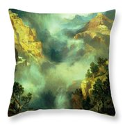 Mist In The Canyon Throw Pillow