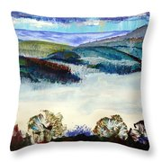Mist In The Exe Valley In Exeter Devon Throw Pillow