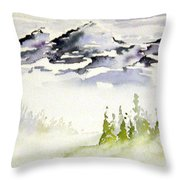 Mist In The Mountains Throw Pillow