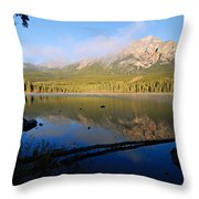 Mist On Pyramid Mountain Throw Pillow