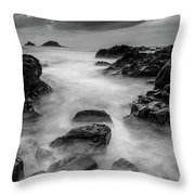 Mist On The Water In Monochrome Throw Pillow