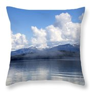 Mist Over Priest Lake Throw Pillow