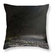 Mist Rising From The River Dove On A Winter's Day Dovedale Peak District Derbyshire England Throw Pillow