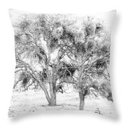 Mistletoe Tree In Black And  White Throw Pillow