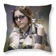 Mistress Of Dragons Throw Pillow