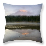 Misty Alpenglow Throw Pillow
