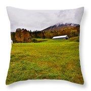 Misty Autumn At The Farm Throw Pillow